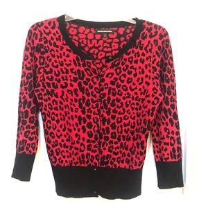 Red Leopard print cardigan